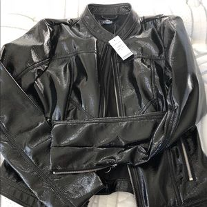 163469a15 bebe Jackets & Coats | Nwt Black Crackled Vynil Bomber Jacket | Poshmark